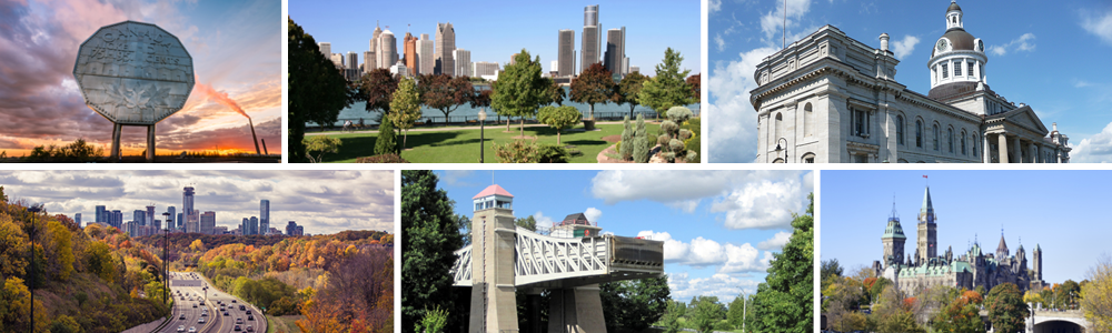 Collage of photos showcasing locations around Ontario: Nickel statue in Sudbury, Windsor skyline, Kingston city hall, Hamilton from the highway, lift locks in Peterborough, and Parliament Hill in Ottawa